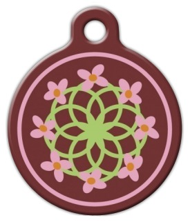 Cherry Blossom Lupine Pattern Dog ID Tag