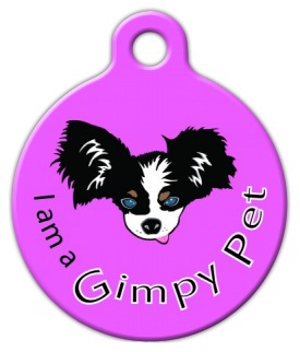 I am a Gimpy Pet Purple ID Tag