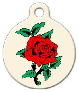 Classic Rose Tattoo Pet Tag