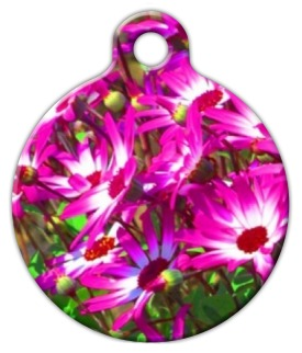 Pink Flower Garden Pet ID Tag