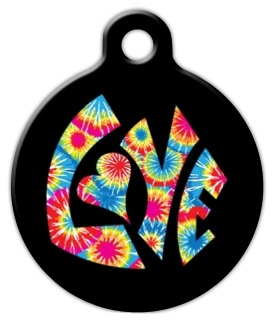 Tie Dye Love Pet ID Tag
