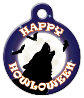 Howling Halloween Dog Collar Tag