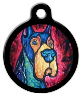 Colorful Great Dane Dog Identity Tag