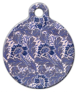 Lavender Flower Pattern Pet ID Tag