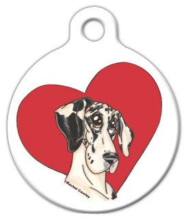 Heart Harlequin Great Dane Dog Identity Tag