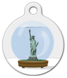 New York Snow Globe Pet ID Tag