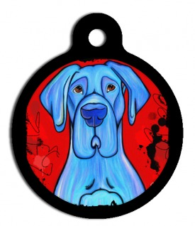 Blue Great Dane Dog Identification Tag