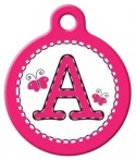 image: Pink Stitch Monogram A-Z Dog Tag