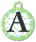 image: Pastel Dots Monogram A-Z Pet ID Tag