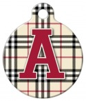Plaid Monogram A-Z Dog ID Tag