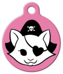 image: Pink Kitty Pirate Cat Collar Tag