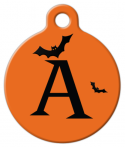 image: Halloween Bats Monogram A-Z Dog or Cat Tag