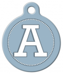 Blue Grey Monogram A-Z Pet Tag