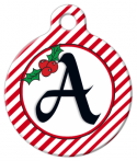image: Christmas Stripes Monogram A-Z Dog ID Tag