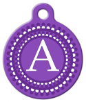 image: Purple Dots Monogram A-Z Custom Pet Tag