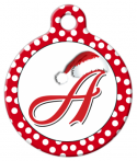image: Santa Hat Monogram A-Z Custom Pet Tag