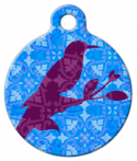image: Indian Bird Batik Blue Dog ID Tag
