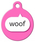 image: Pink Woof Dog ID Tag