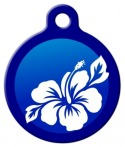 Blue Hibiscus Dog ID Tag