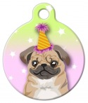 image: Birthday Pug Pet Collar ID Tag