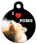 image: I Love Poms Name Tag for Dogs