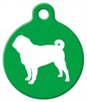 Pug Silhouette Pet Tag