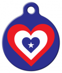 America Heart Flag Pet ID Tag
