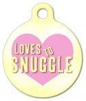 image: Loves to Snuggle Dog ID Tag