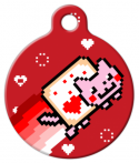 image: Valentine's Day Nyan Cat Pet ID Tag