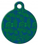 Green Flower Pattern Pet ID Tag