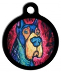 image: Colorful Great Dane Dog Identity Tag