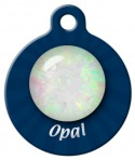 Opal October Birthstone Dog ID Tag