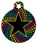 image: Star on Rainbow Background Dog ID Tag