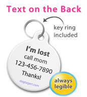 Personalized Pet Tag - 4 Lines of Text - Key ring included