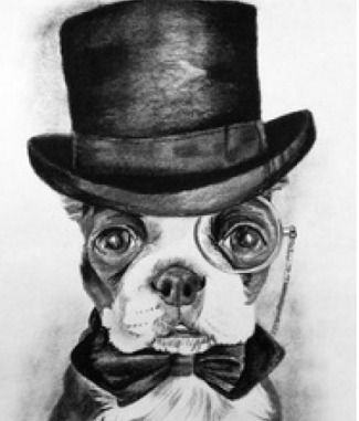 Boston Terrier With Top Hat Dog Tag By Dog Tag Art