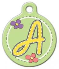 Green Stitch Monogram A-Z Pet Tag
