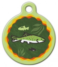 Brook Trout Lupine Pattern Pet ID Tag