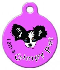 I am a Gimpy Pet Purple ID Tag