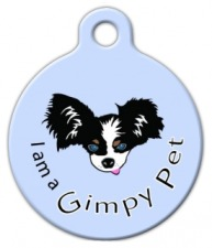 I am a Gimpy Pet Blue ID Tag