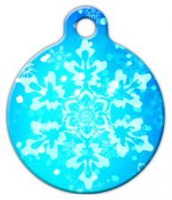 Blue Snowflakes Dog ID Tag