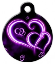 Neon Purple Hearts Dog ID Tag