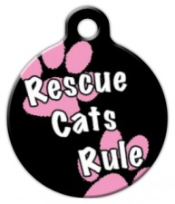 Rescue Cats Rule Girl Cat ID Tag