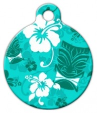 Turquoise Tiki Dog ID Tag