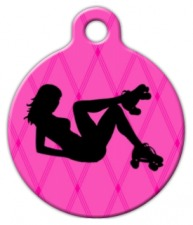 Roller Derby Girl Dog Identity Tag