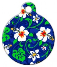 Blue Hawaiian Print Dog ID Tag