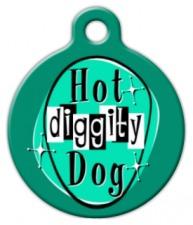 Retro Hot Diggity Dog ID Tag