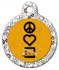 Peace, Love and Rawhide Chewies Pet ID Tag