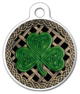 Custom Dog Tag Shamrock And Celtic Knots Stickers Black Rb Bc A Db E E Be C V Waf Byvr on Lupine Dog Collars