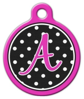 Polka Dot Monogram A-Z Dog Tag for Dogs