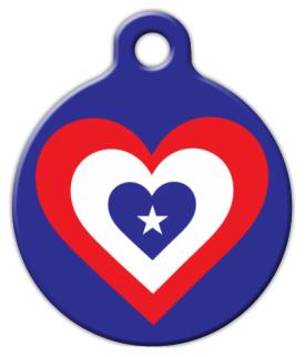 America Heart Flag Pet ID Tag